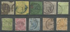 Württemberg 1851/1874 - 10 values of which 4 stamps are tested