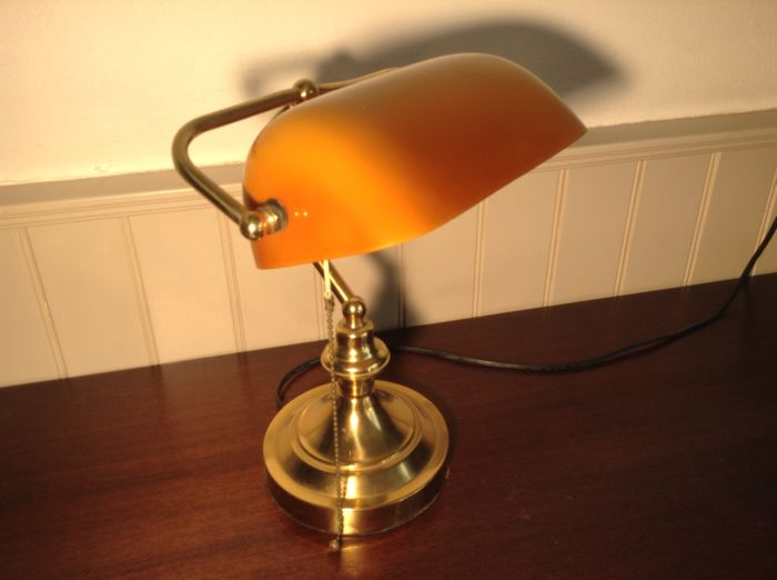 Unknown designer classic bankers lamp with glass shade catawiki unknown designer classic bankers lamp with glass shade aloadofball