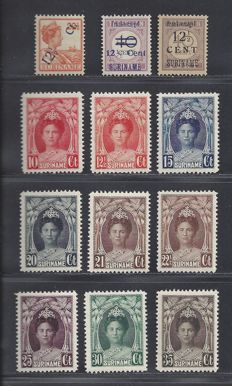 Suriname, 1926/1927, three different editions, NVPH 115, 116/117b, 118/126