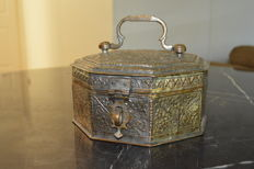 Beautiful Silver Plated Copper and Bronze Spice container complete - India- Early 19th century
