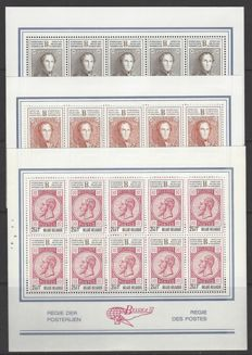 "BelgiUM – OBP nO. 1627 to 1635 ""Belgica 72"" – Complete series in sheets of 10 and 20 and re-prints Pellens"