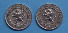 Belgium - 10 centimes 1901 French and Flemish Leopold II (2 pieces)