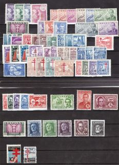 Spain 1937/1948 – Set of complete series – Edifil 840, 866, 936/9, 940/7, 954/6, 957/60, 961/9, 970/3, 974/82, 983, 984/8, 990, 991/2,993/7, 998, 999/1001, 1035/6
