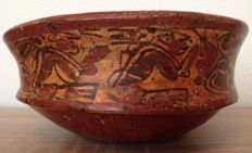 Pre-Columbian Maya copador bowl with chiefs and birds - The Mayan Areas - Classic Maya - 20 cm