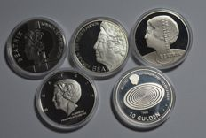 Netherlands - 10 guilder coins 1994/1999 (5 different ones) - silver
