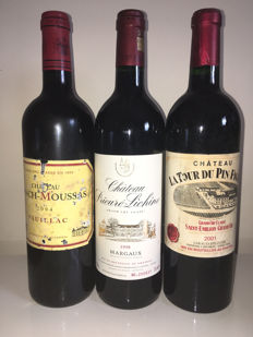 2004 Ch. Lynch Moussas, Grand Cru Classé & 2001 Ch. Tour du pin Figeac, Grand Cru Classé & 1998 Ch. Prieure Lichine, Grand Cru Classé - 3 bottles total