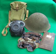 WW2 British Lightweight (Special Forces) Gas Mask, Bag and 4 Eye Shields PLUS a post war helmet