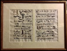 Pair of handwritten sheets of Gregorian Cantoral music sheet, 15th-16th century