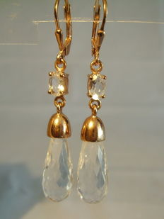 Earrings with faceted rock crystal pendeloques totalling approx. 16 ct