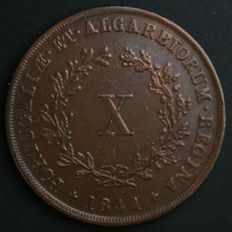 Portugal – X Reis – D. Maria II – 1841- No Reserve – Lisbon - Rare and Valuable in UNC Condition