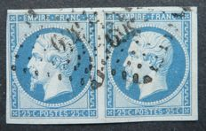 France 1853 – 25 c blue, signed Calves with digital Calves and Jacquart certificate –  Yvert no. 15 as horizontal pairs