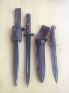 Lot of 2 Bayonet for Mauser M 1948, complete, former Yugoslavia  and Czech AK-47 Samopal Bayonet