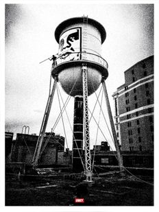 Shepard Fairey (OBEY) - Covert to overt : Icon Water Tower silver edition