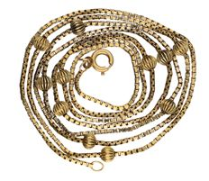 14 kt yellow gold Venetian link necklace, length: 80 cm