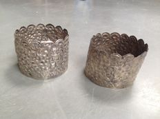 Two silver ornamental bands for elephant tusks from the legacy of Princess Juliana - Indonesia - 20th century