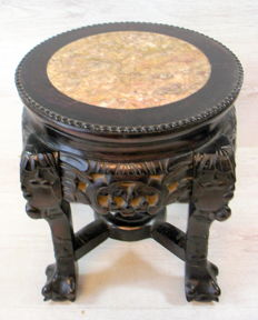 Hand-carved antique hardwood side table with marble top – China – 1st half 20th century