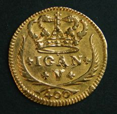 Portugal – Pinto in GOLD – 1726 – D. João V – 5 Arch Crown – Lisbon – UNC