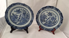 A Pair of Blue and White Charger With royalgarden Pattern - China - 18th century