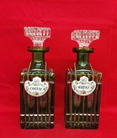 """2x crystal glass bottles with ceramic plates """"Cognac"""" and """"Whisky"""" - Germany, mid 20th century"""