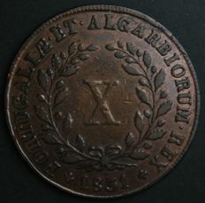 Portugal – X Reis – D. Miguel I – 1831 – No Reserve – Lisbon – Very Rare and Valuable in UNC Condition