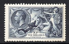 Great Britain King George V 1934 - 10/- Indigo Re-Engraved Seahorse, Stanley Gibbons 452