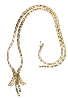 14 kt yellog old link necklace - Length 43 cm