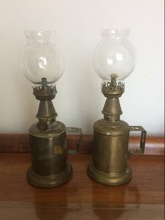 Two brass oil lamps with glass balls.  Ca 1920 - France