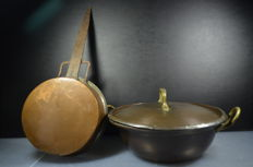 Copper frying pan and saucepan from ca. 1800