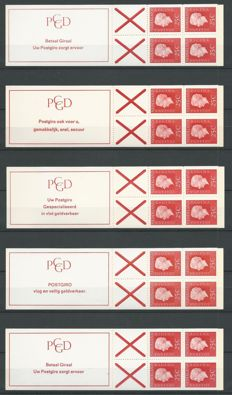 The Netherlands 1966/1969 – Selection 9 stamp booklets – NVPH PB6 + PB 9 including ONGELDIG (INVALID)