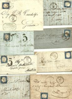Kingdom of Sardinia – 1855-63 – Lot of 8 letters 20 c.