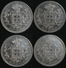 Portugal – 4 x 500 Réis coins in SILVER – 1891, 1892, 1893 and 1996 – D. Carlos I – Lisbon - Excellent Lot
