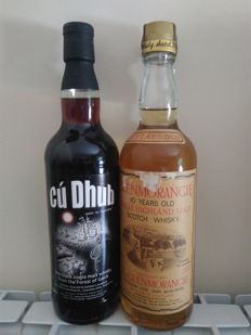 Glenmorangie 10 years old 75cl - 1980s & Cu Dhub The Black Whisky