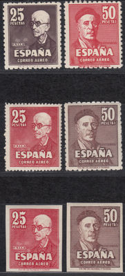 Spain 1947 – Falla and Zuloaga – Edifil No. 1015/1016, 1015FN/1016FN, 1015FNsa/1016FNa.