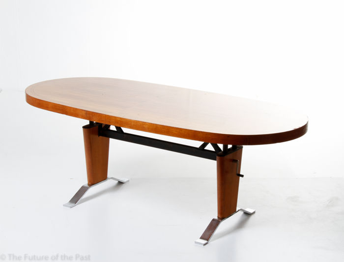 Bon Unknown Producer   Large Vintage Mid Century Modern Coffee Table With A  Elevating Tabletop