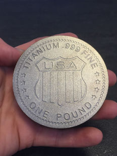 USA - Elemental Mint - 1 lb pound of 999 titanium - titanium bar, coin shaped - rare earth