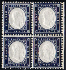 Kingdom of Italy, 1862-1889 - 5 intact blocks of four