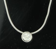 14k white gold necklace with a pendant set with brilliant cut diamonds, approx; 0.48 carat in total, necklace length 42 cm