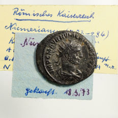 Roman Empire – Numerianus (283-284) AE Antoninian, Cyzicus, emperor and Jupiter