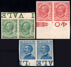 Kingdom of Italy, 1906-1908 Lions / Michetti - Pairs, not perforated.