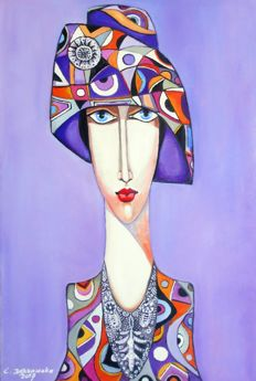 Cecylia Dąbrowska - Her portrait in a hat