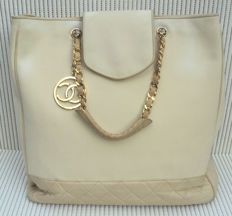 Chanel - Diamond Quilted CC Charm Grand Shopping Tote Bag