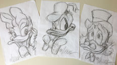 Vizcarra, Joan - 3 Original preparatory sketches - Daisy, Donald Duck & Uncle Scrooge (1990's)