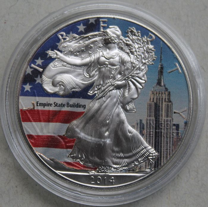 "USA – 1 Dollar 2014 – American Eagle ""Empire State Building"" in colour – 1 oz silver"