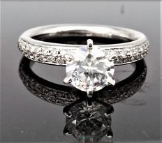 Engagement Pave Diamond Ring With 1.06 ct total Diamonds -G/VVS1 -  14K White Gold - with IGL Certificate