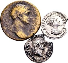 Roman Empire - Lot of three Roman coins - Silver Denarius of Domitianus Caesar (79-81 AD), Plautilla, wife of Caracalla (198-217 AD) and AE Dupondius Trajanus, 98-117 AD