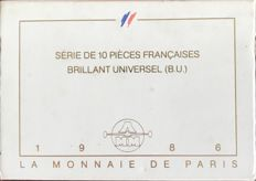 France – Monnaie de Paris – 1986 BU case (10 coins) with 100 Silver Francs.