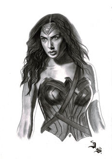 Diego Septiembre - Original Charcoal And Graphite Drawing - Wonder Woman (2017)