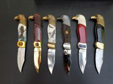 Collectie van 6 messen 24kt goudverguld & verzilverde Collector Knifes - Franklin Mint