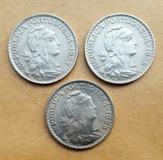 Portugal – Lot of 3 coins – 1 Escudo 1957/1958/1965 . Superior Condition