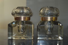 Pair of Large English Cut Crystal and bronze Inkwells, England, second half 19th century,